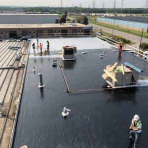 Polyurethane Roof System installing